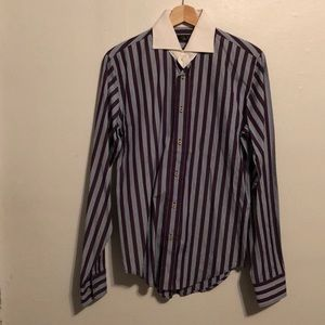 Stripped shirt with white collar